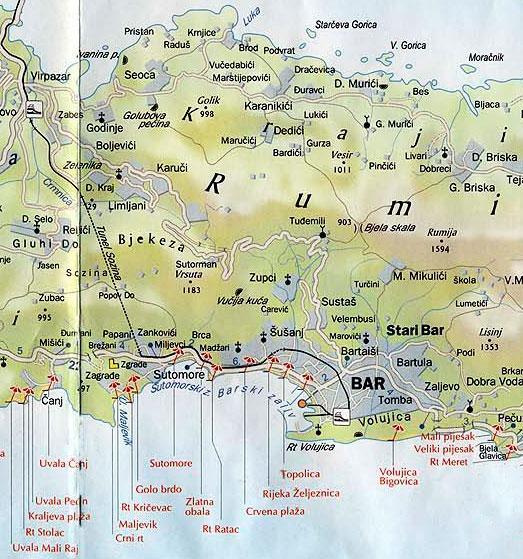 Карта пляжей Бара