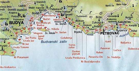 Карта пляжей Будвы