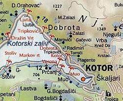 Карта пляжей Котора
