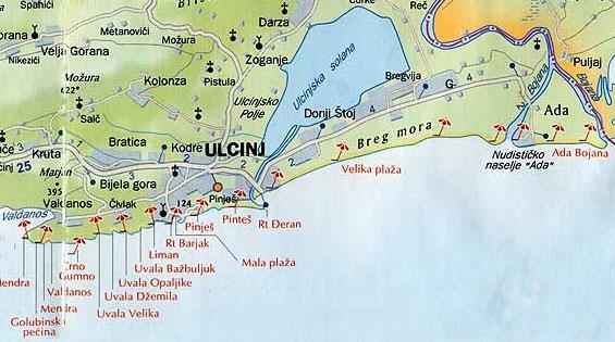 Карта пляжей Ульциня